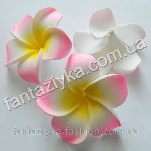 Гавайский цветок из латекса розовый 7см
