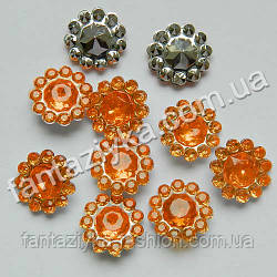 Декоративный камень Цветочек оранжевый, серединка для бантиков