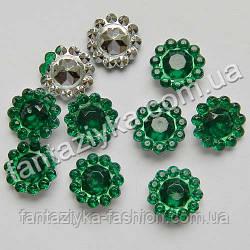 Декоративный камень Цветочек зеленый, серединка для канзаши