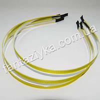 Металлический обруч для волос с желтой репсовой лентой 6мм