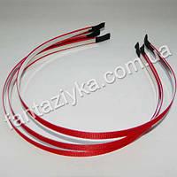 Металлический обруч для волос с красной репсовой лентой 6мм