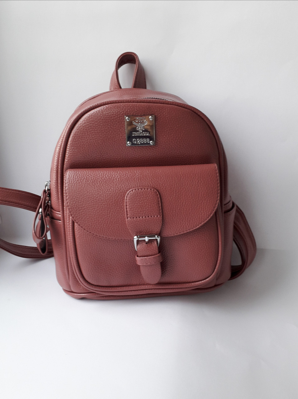 Рюкзак городской молодежный из кожзама темно-розовый