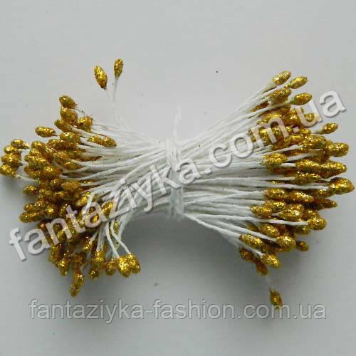 Тычинки для цветов с блестками золотые, 50 штук