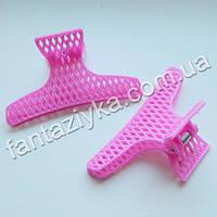 Краб для волос пластиковый сеточка, розовый