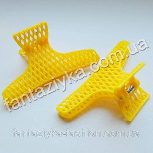 Краб для волос пластиковый сеточка, желтый