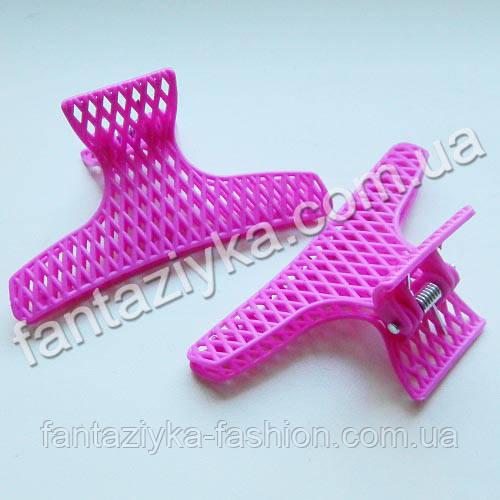Краб для волос пластиковый сеточка, малиновый