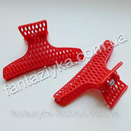 Краб для волос пластиковый сеточка, красный