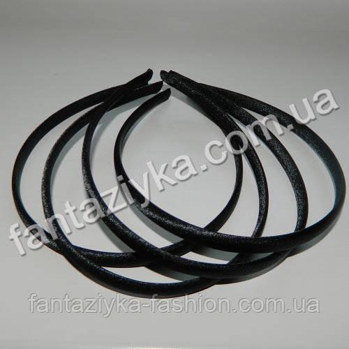Пластиковый обруч для волос обтянут атласом 9мм, черный