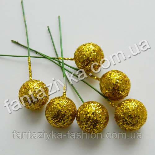 Блестящий шарик на проволочке 15мм, золотой