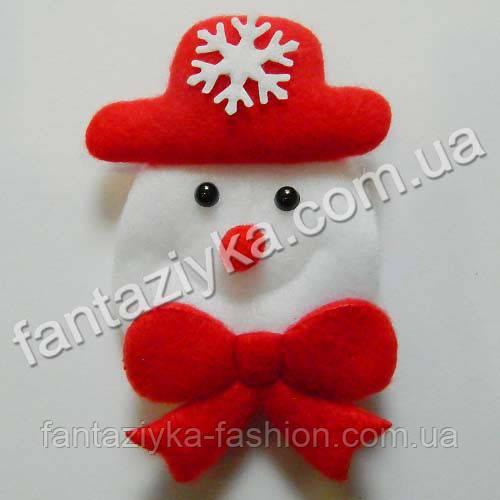 Новогодний декор Снеговик из фетра 9см