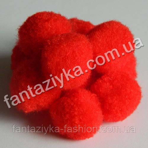 Помпон декоративный красный 15-20мм, для творчества