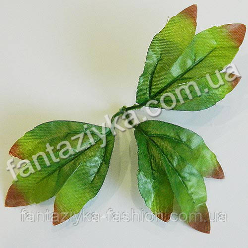 Искусственный лист-лапка с коричневым кончиком