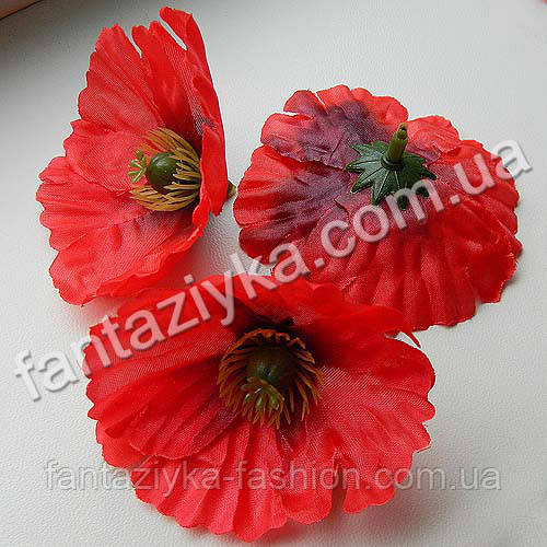 Искусственный цветок мака средний 6,5см