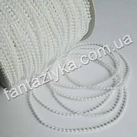 Жемчужные бусы на нитке круглые белые 3мм, белые