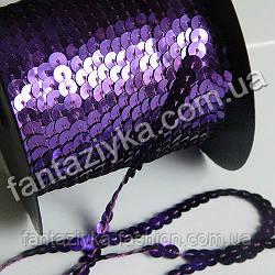 Пайетки на нитке фиолетовые, тесьма декоративная