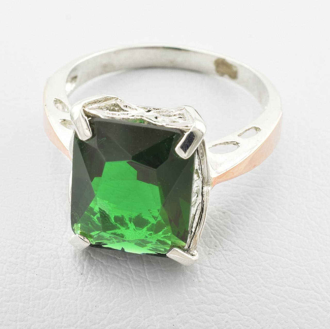"""Серебряное кольцо """"Тюльпан"""", вставка зелёный фианит, вес 3 г, размер 19"""