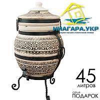 Копия Тандыр Теплота 1 Подарок с механическим держателем крышки, дизайн Вышиванка черная