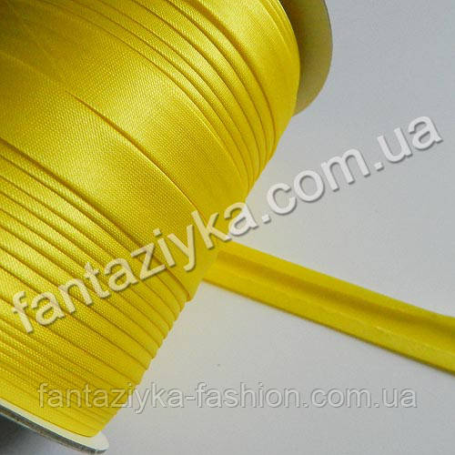 Атласная косая бейка желтого цвета
