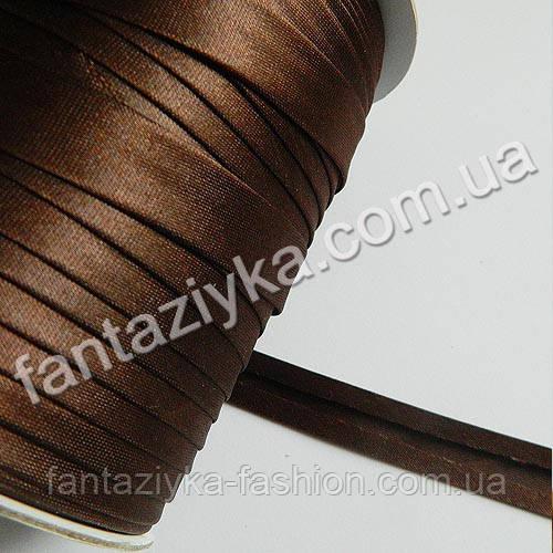 Атласная косая бейка, цвет темно-коричневый