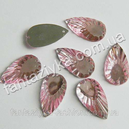 Пришивной камень Перо среднее 20мм, розовый