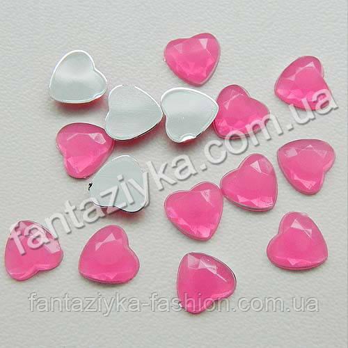 Камешки Сердечки декоративные 8мм, розовый цвет