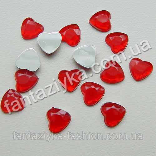 Камешки Сердечки декоративные 8мм, красный цвет