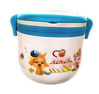 Контейнер для продуктов. Ланч - бокс + ложка и тарелка. Wanghon. box-312. Голубой