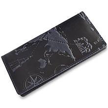 """Бумажник мужской кожаный универсальный Shabby Ink """"7 чудес света"""". Цвет синий"""