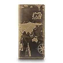 """Бумажник мужской кожаный универсальный Shabby Light """"7 чудес света"""". Цвет оливковый"""