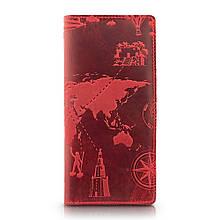 """Бумажник женский кожаный универсальный Shabby Red Berry """"7 чудес света"""". Цвет красный"""
