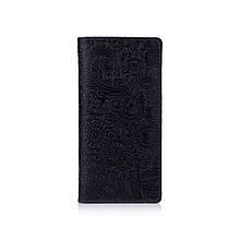 """Бумажник женский кожаный универсальный Shabby Ink """"Искусство мехенди"""". Цвет синий"""