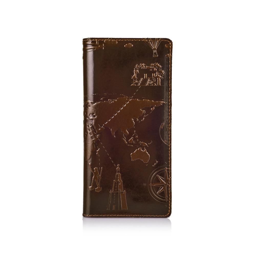 """Бумажник мужской кожаный универсальный Crystal """"7 чудес света"""". Цвет оливковый"""