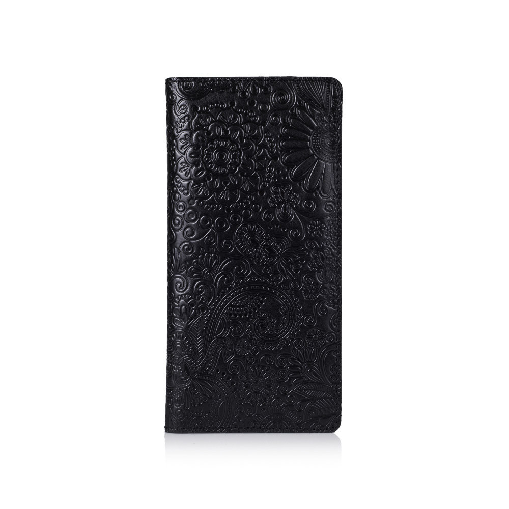 """Черный Кожаный Бумажник Crystal Panther """"Mehendi Art"""""""