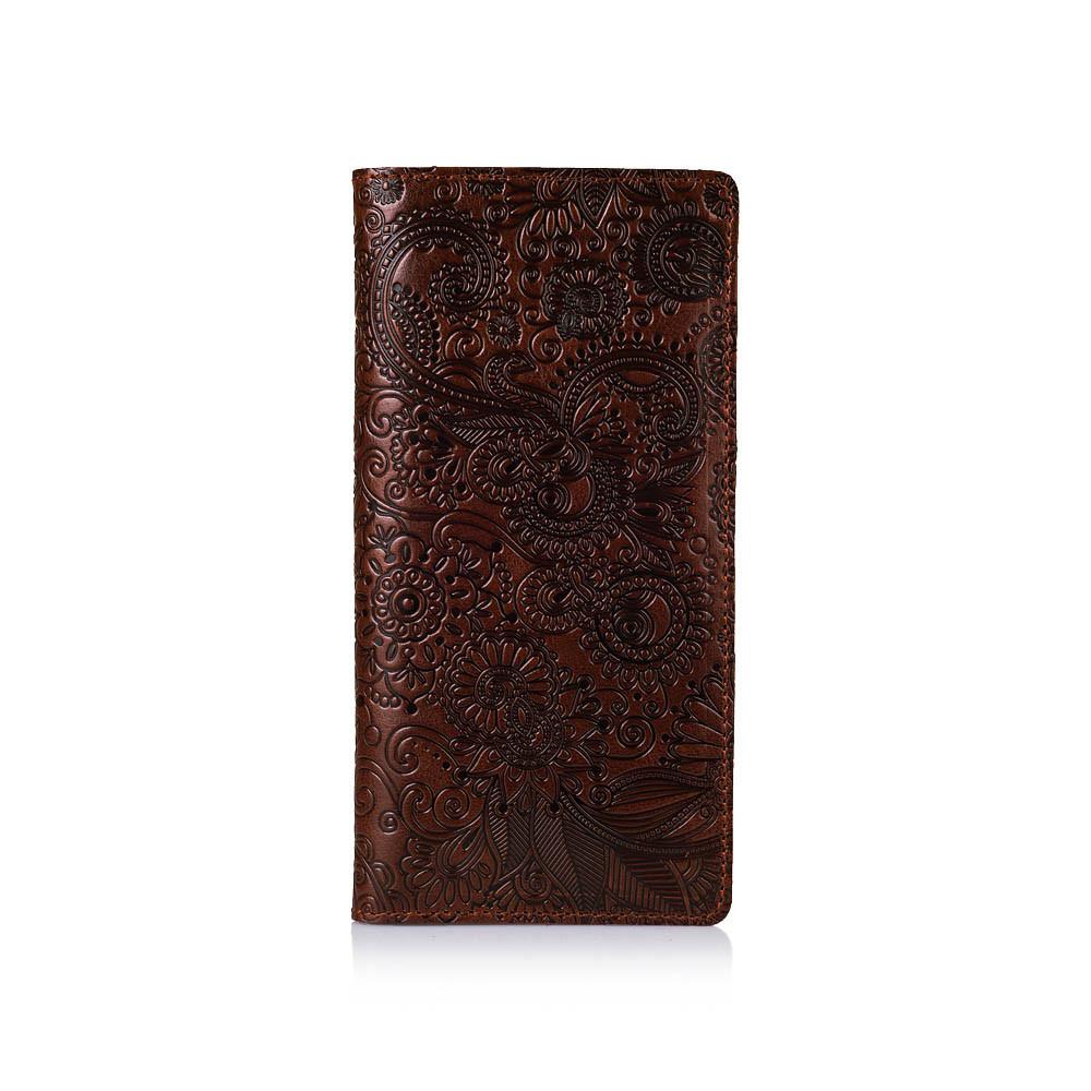 """Бумажник женский кожаный универсальный Crystal Сognac """"Искусство мехенди"""". Цвет коньяк"""