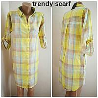 Женская летняя Туника-Рубашка желтая белая клетка. Удленненная рубашка с полукруглым низом. Хлопок. Индия