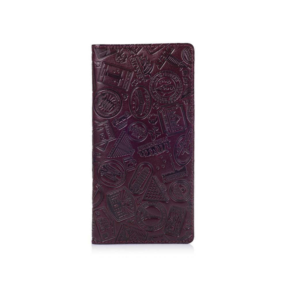 """Темно фиолетовый Кожаный Бумажник Crystal Sangria """"Let's Go Travel"""""""