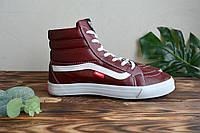 Кеды Vans old skool кожа высокие Red (КРАСНЫЕ), фото 1