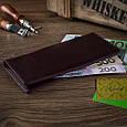 Темно фиолетовый Кожаный Бумажник Crystal Сognac, фото 6