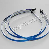 Металлический обруч для волос с синей репсовой лентой 6мм