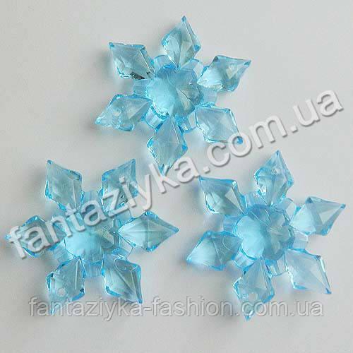 Кристалл-подвеска Снежинка голубая 45мм