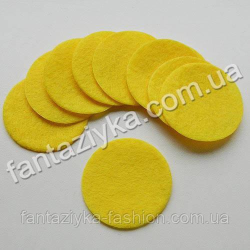 Кружок из фетра желтый 40мм, толщина 1мм
