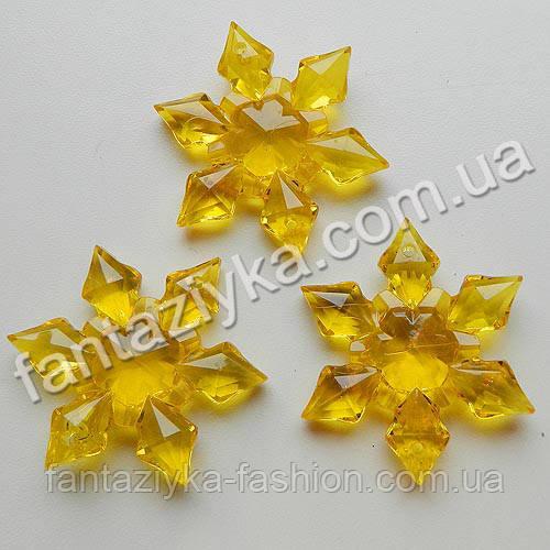 Кристалл-подвеска Снежинка желтая 45мм