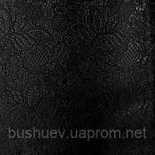Атлас стрейчевый с жаккардовым рисунком (2137) Черный