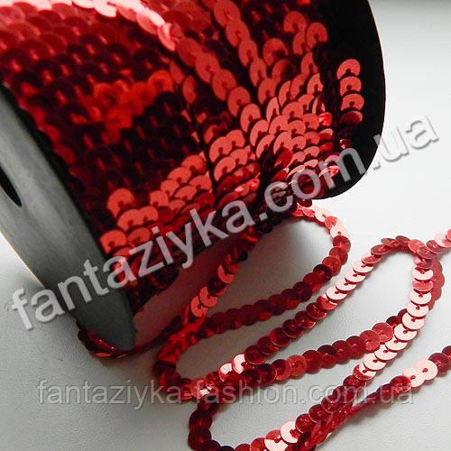 Пайетки на нитке красные, тесьма декоративная