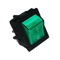 A14Y Выключатель с подсветкой прямоугольный зеленый