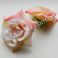 Искусственная роза головка 6см, персиковая
