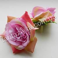 Искусственная роза головка 6см, сиреневая