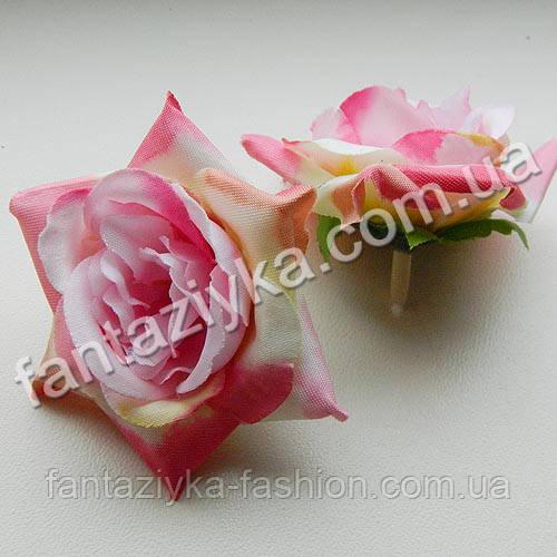 Искусственная роза головка 6см, розовая