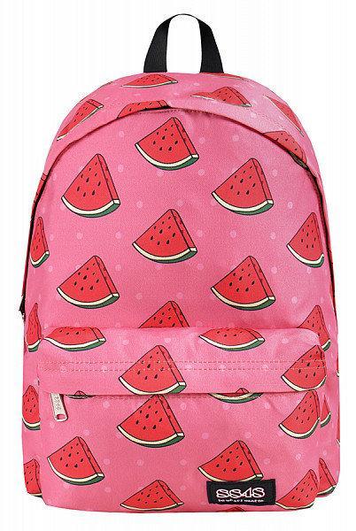 Рюкзак розовый с принтом арбуз.