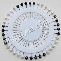 Булавки декоративные на диске круглые черно-белые